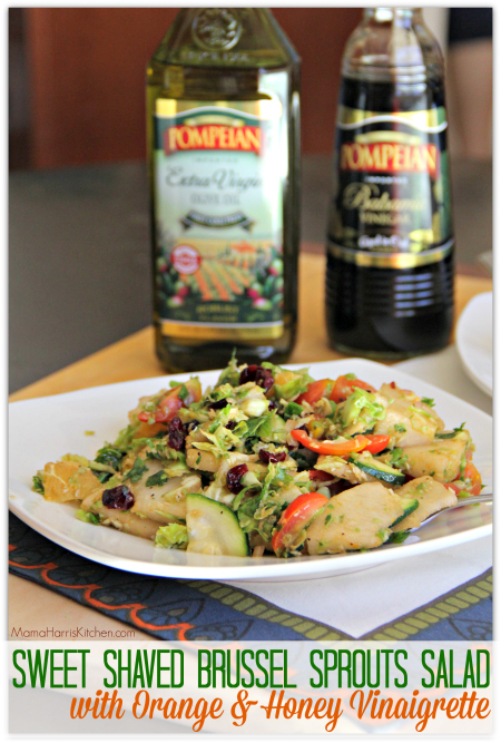 Sweet Shaved Brussel Sprouts Salad with Orange & Honey Vinaigrette #PantryInsiders
