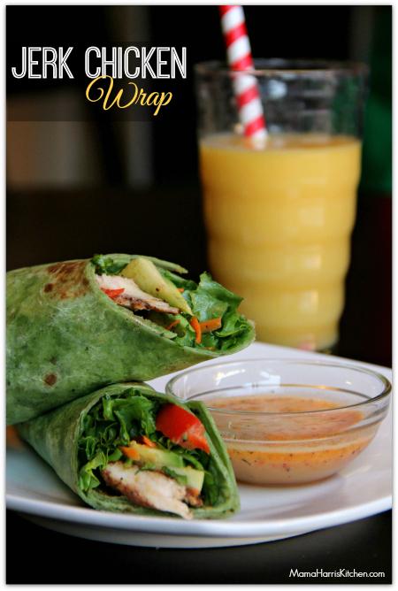 jerk chicken wrap with Florida orange juice marinade