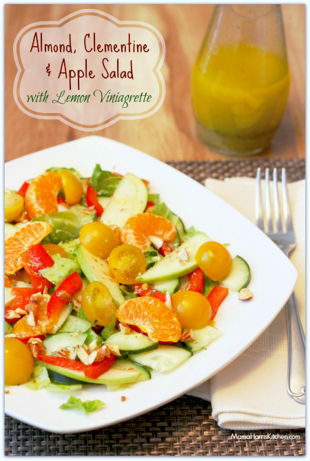 almond clementine and apple salad with lemon vinaigrette - celebrate heart health month this February - Mama Harris' Kitchen