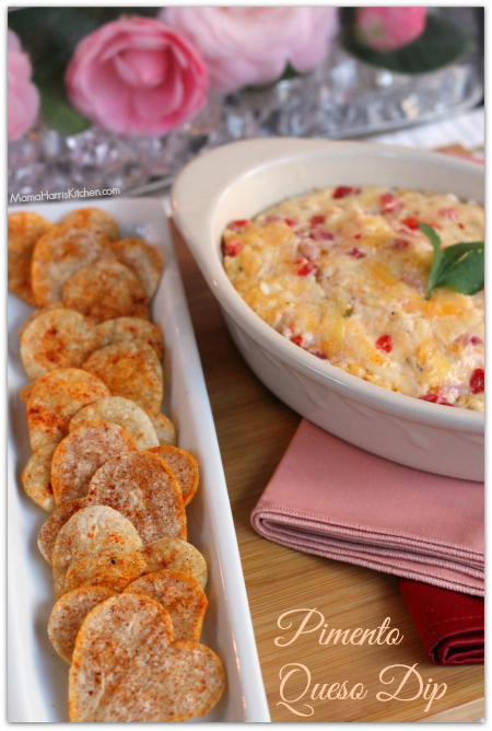 Pimento Queso Dip with Heart Shaped Tortilla Chips #FoodieBeMine - Mama Harris' Kitchen