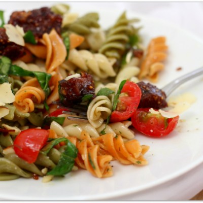 Vegetarian Italian Sausage with Tri-Color Rotini {GIVEAWAY}