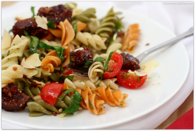 Vegetarian Italian Sausage with tri-color rotini #SpreadTheLove #OrchardChoice #ValleyFig - Mama Harris' Kitchen