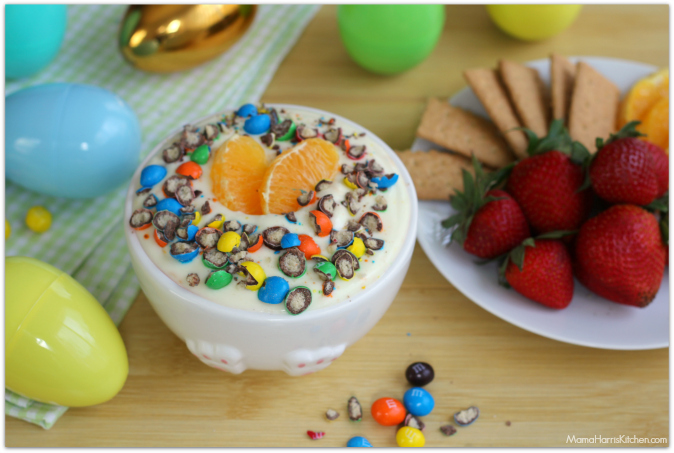 Orange Cream Fruit Dip with M&M's® Crispy #CrispyComeback #ad - Mama Harris' Kitchen
