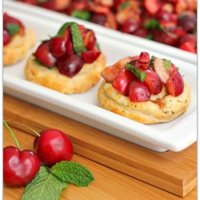 Sweet & Savory Cherry Puff Pastry Bruschetta