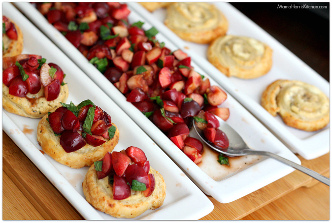 sweet and savory cherry bruschetta #puffpastry AD | Mama Harris' Kitchen
