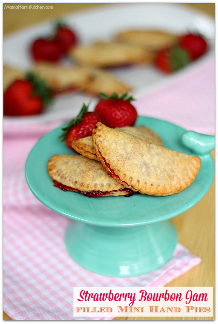 Strawberry Bourbon Jam filled Mini Hand Pies #BourbonBBQ with Driscoll's Berries and Four Roses Bourbon AD | Mama Harris' Kitchen