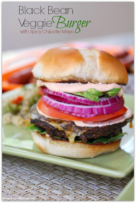 black bean burger with chipotle mayonnaise #KingsfordFlavor #cbias (AD) | Mama Harris' Kitchen
