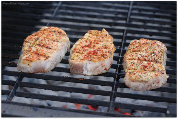 Grilled Boneless Pork Chops with Chimichurri sauce #GrillPork National Pork Board (ad) | Mama Harris' Kitchen