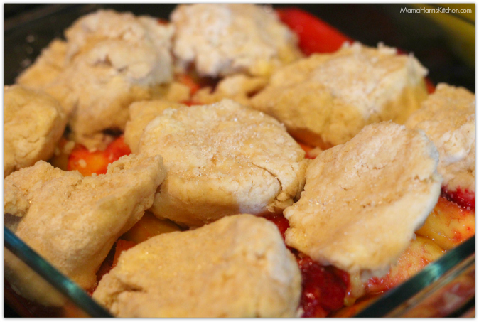 Nectarine & Plum Cobbler with cornmeal biscuits #PANFan #IC (ad) | Mama Harris' Kitchen