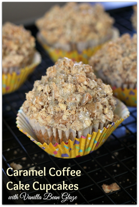 Caramel Coffee Cake Cupcakes with Vanilla Bean Glaze #GevaliaIcedCoffee #IC (ad) | Mama Harris' Kitchen