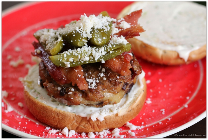 Cheese Stuffed Chipotle Pork Burgers Topped with Bacon and Jalapenos #VivaLaMorena (ad) #cbias | Mama Harris' Kitchen