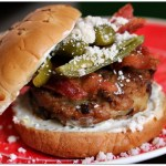 Cheese Stuffed Chipotle Pork Burgers Topped with Bacon and Jalapenos