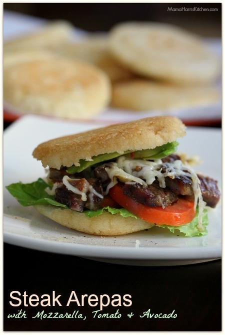 Steak Arepas with Mozzarella, Tomato and Avocado #PANFan #IC - Mama Harris' Kitchen