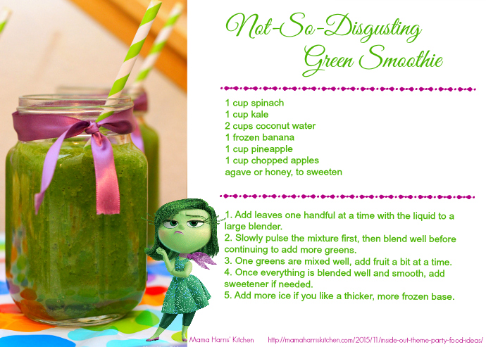 Inside Out Not So Disgusting Green Smoothie Printable Recipe Card #InsideOutEmotions #cbias AD | Mama Harris' Kitchen