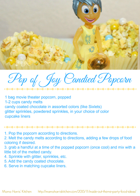 Inside Out Pop of Joy Candied Popcorn Printable Recipe Card #InsideOutEmotions #cbias AD | Mama Harris' Kitchen