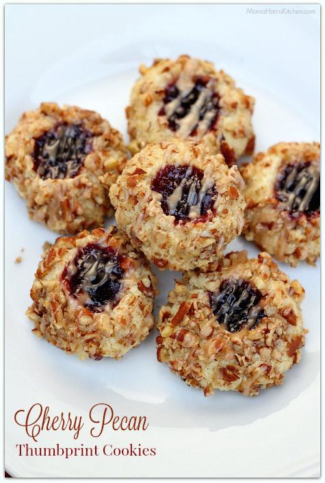 Cherry Pecan Thumbprint Cookies #HousefulOfCookies | Mama Harris' Kitchen
