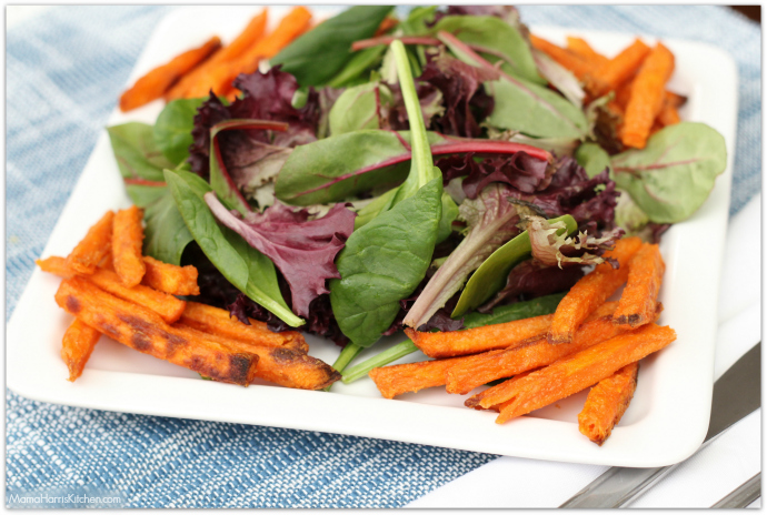 Southwest Chicken Salad with Sweet Potato Fries #FarmToFlavorRecipes with NATURERAISED FARMS® AND ALEXIA® FARM TO FLAVOR FAMILY RECIPES AT TARGET AD | Mama Harris' Kitchen