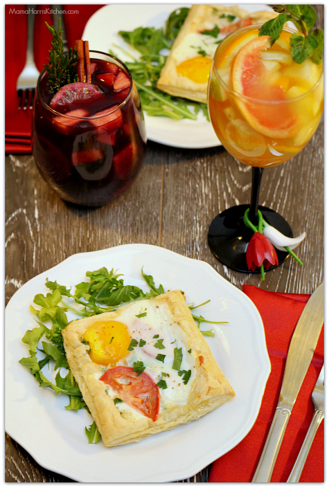 Romantic Brunch: Egg, Chicken and Veggie Tartlets with Sexy Sangrias!