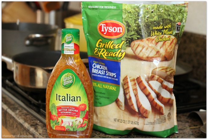 Chicken and Cilantro Rice Salad bowl using Tyson® Grilled & Ready® Chicken and Wish-Bone® Italian Dressing AD | Mama Harris' Kitchen