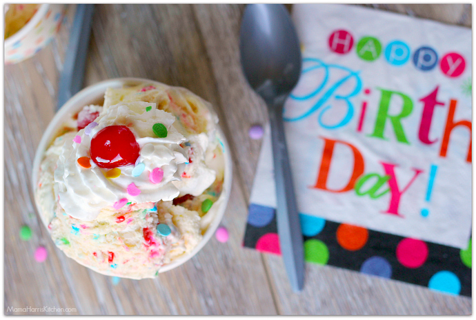 Birthday Cake Ice Cream Homemade with sprinkles, marshmallows and cherries in the mix #SprinklesandMAYhem | Mama Harris' Kitchen
