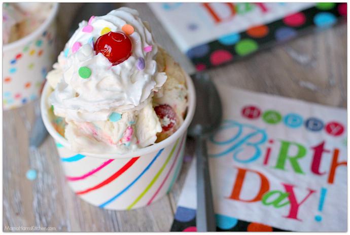 Birthday Cake Ice Cream Homemade With Sprinkles Marshmallows And Cherries In The Mix SprinklesandMAYhem