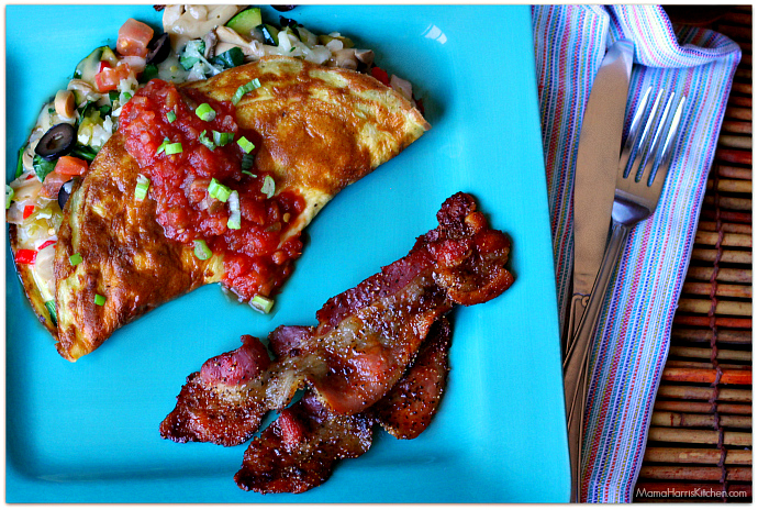 smoky sweet peppered baked bacon | Mama Harris' Kitchen