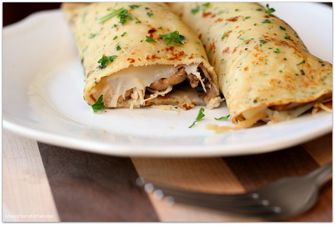 Savory Crepes with Turkey, Mushroom and Swiss Cheese | Mama Harris' Kitchen