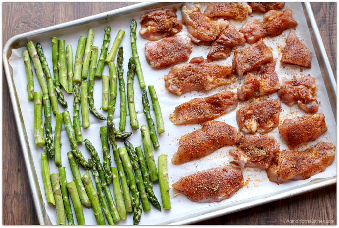 Sheet Pan Dinner: Chicken Asparagus Mushroom Tomatoes #NewComfortFood AD   Mama Harris' Kitchen