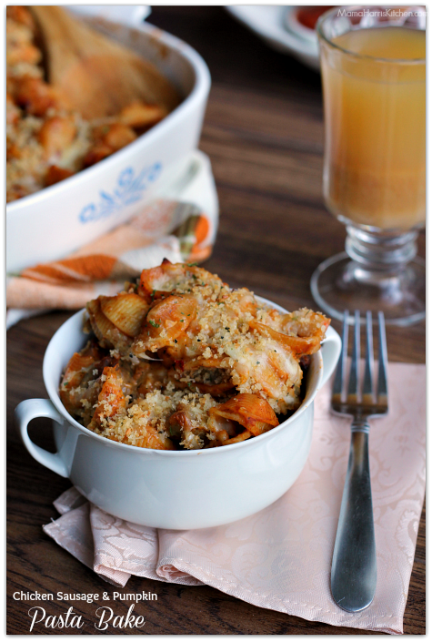 This Chicken Sausage and Pumpkin Pasta Bake is the perfect quick meal for Pumpkin season! Pick up your pumpkin products at your local Sprouts and get cooking in no time! #TalkPumpkinToMe AD Mama Harris' Kitchen
