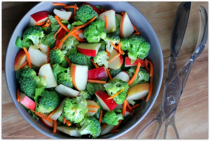 Crunchy Broccoli-Apple Salad with Creamy Raspberry Poppy Seed Dressing #BetterWithCraisins AD   Mama Harris' Kitchen