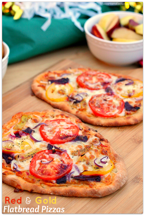 Red and Gold Flatbread Pizza perfect to enjoy while watching your favorite football team! AD Mama Harris' Kitchen