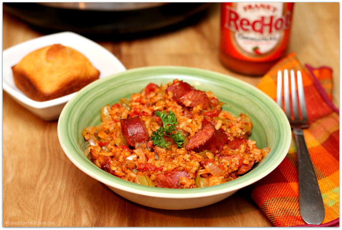 Rice Cooker Sausage Jambalaya was cooked using Hamilton Beach's new 4-20 cup rice and hot cereal cooker AD   Mama Harris' Kitchen