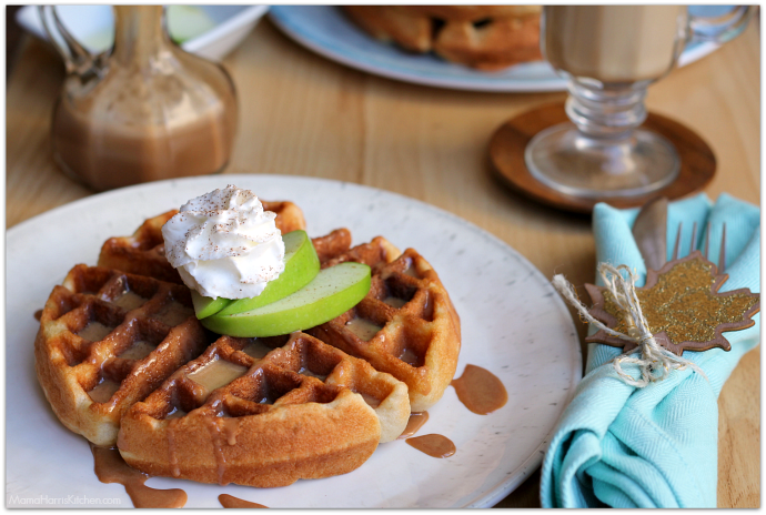 Caramel Apple Cake Mix Waffles with Cake Frosting Syrup #BakeFallFavorites AD | Mama Harris' Kitchen
