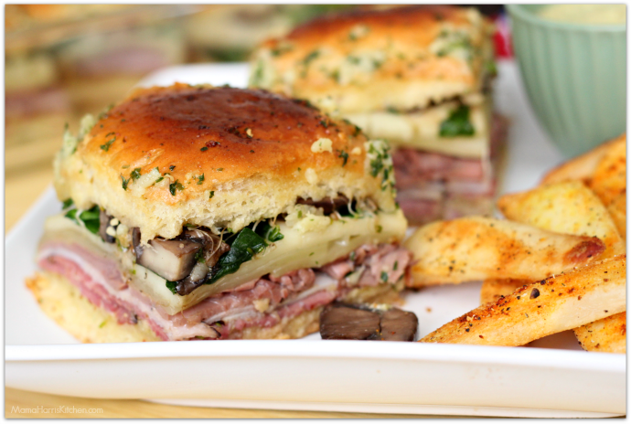 Deli Sandwich Style Sliders made with Sprouts Farmers Market Brand Sweet Hawaiian Rolls AD | Mama Harris' Kitchen