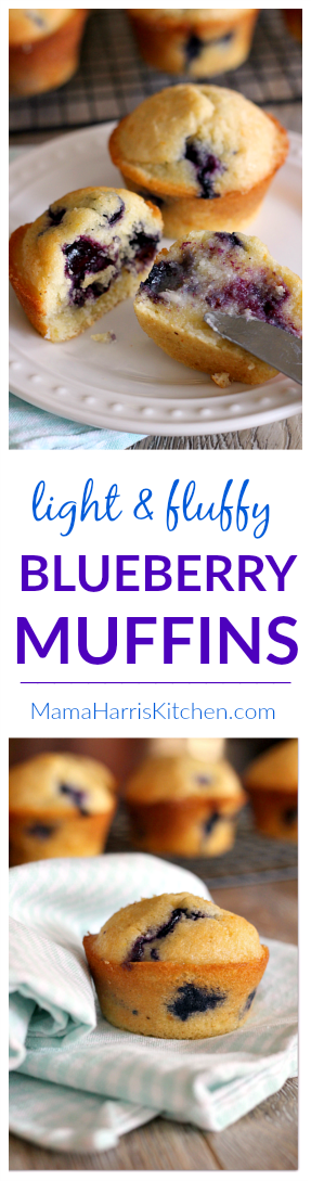 Light and Fluffy Blueberry Muffins | Mama Harris' Kitchen