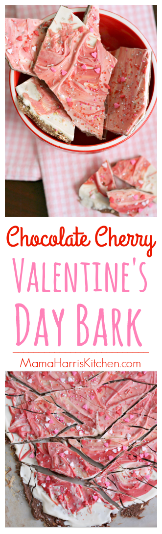 Chocolate Cherry Valentine's Day Bark | Mama Harris' Kitchen