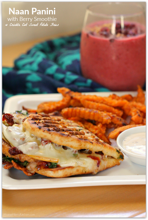 Naan Panini with Berry Smoothie and Crinkle Cut Sweet Potato Fries