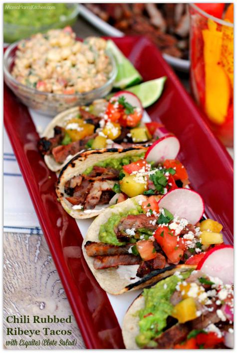 Chili Rubbed Ribeye Tacos with Esquites (Elote Salad) #SaveMartSummer AD | Mama Harris' Kitchen