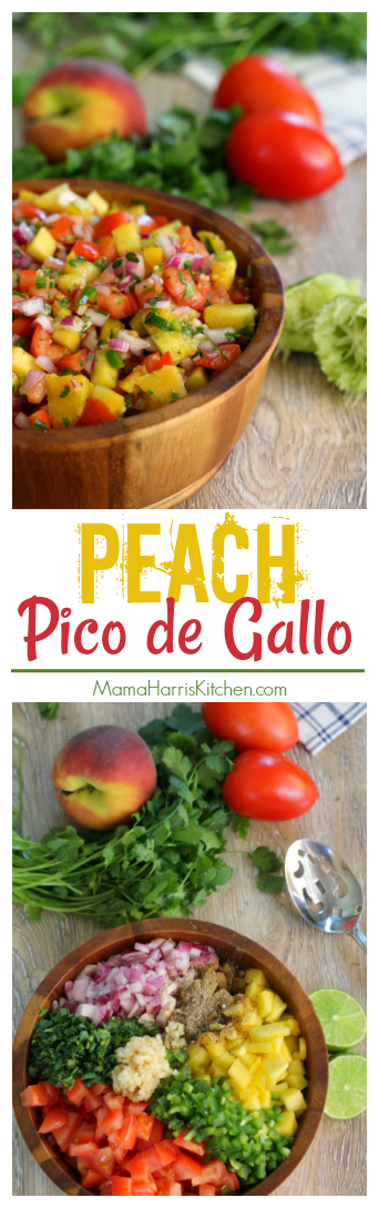 Peach Pico de Gallo Mexican Salsa Recipe from Mama Harris' Kitchen