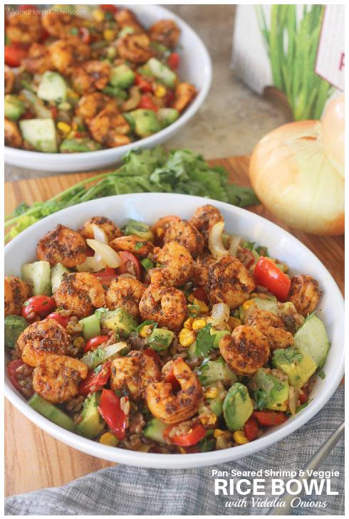 Pan-Seared Shrimp and Veggie Rice Bowl with Vidalia Onions - Mama Harris' Kitchen