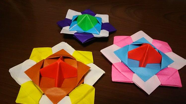 折り紙3枚でこまの折り方を簡単に画像で説明!4歳の息子と折ってみた