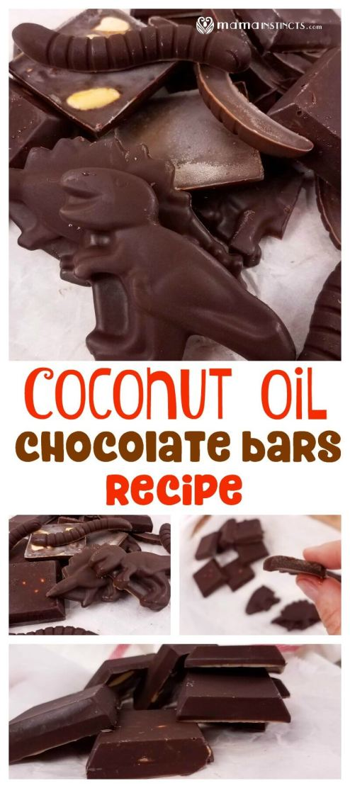 Vertical image with coconut oil chocolate bars in different shapes. In the middle contains a text saying: coconut oil chocolate bars recipe. The bottom of the image has more pictures of the coconut chocolate bars in dinosaur, worm and square shapes.