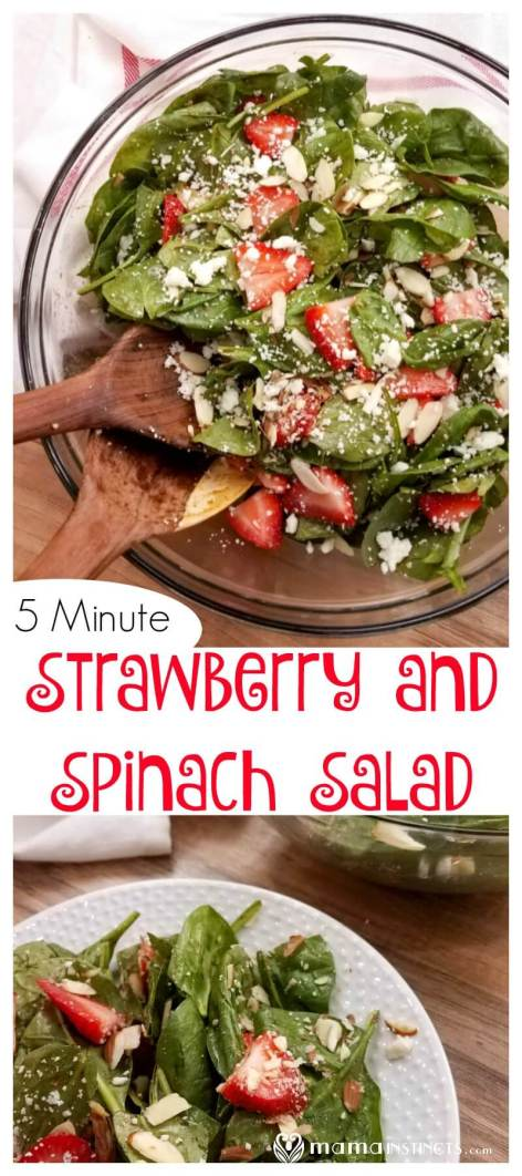 Try this delicious salad with spinach, strawberry, nuts and feta cheese! Takes only minutes to make and everyone will love it. #saladrecipe #spinachsalad