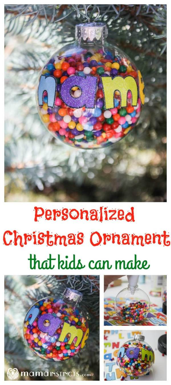 Make this cute and easy personalized Christmas ornament with your kids. It helps develop their fine motor skills while making a lovely Christmas ornament that your kids and the grandparents will love.