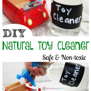 Are you cleaning your kid's toys with toxic chemicals? Keep your kids safe by using this simple natural toy cleaner - all you need is 2 ingredients. This non-toxic toy cleaner is a must if you have a baby chewing all their toys.