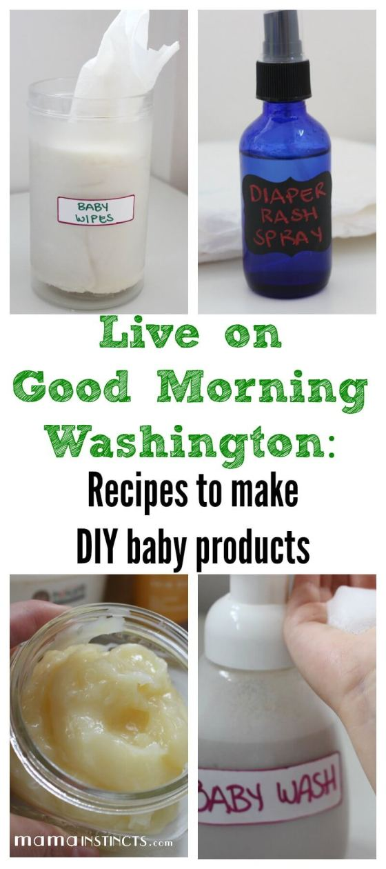 Check out my segment on Good Morning Washington where I show you how to make DIY baby products made with organic ingredients and ready in just a few minutes. Get the recipes to make non-toxic baby wipes, diaper rash healing spray, baby body lotion and baby wash.