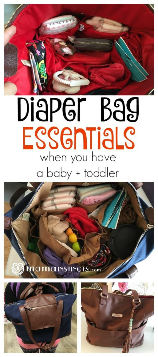 Find out what are the essentials in a diaper bag for a baby + toddler (3 year old kid). A great balance between being over-prepared and under-prepared.