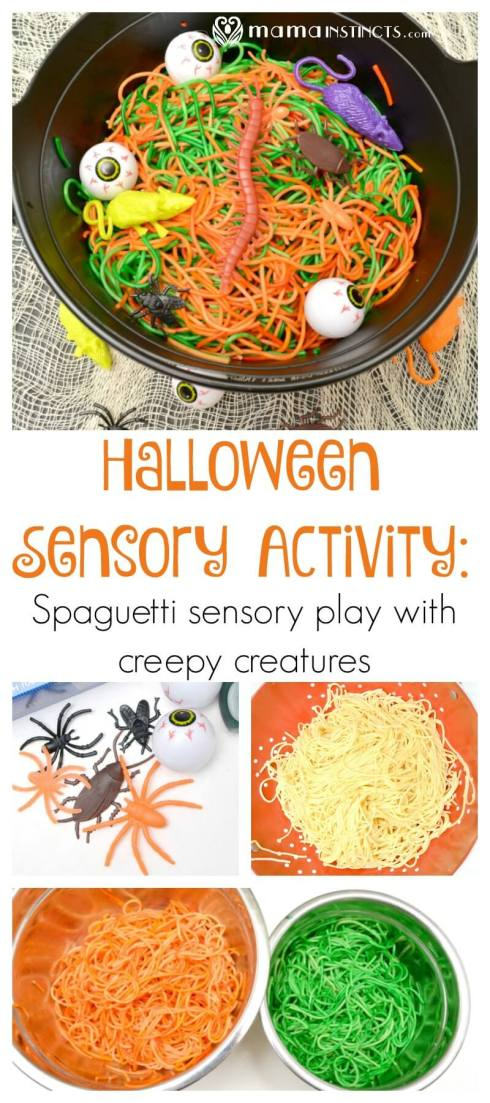 Try this fun halloween sensory play activity with organic spaghetti, natural colors and creepy halloween creatures. A taste safe activity for toddlers and kids.
