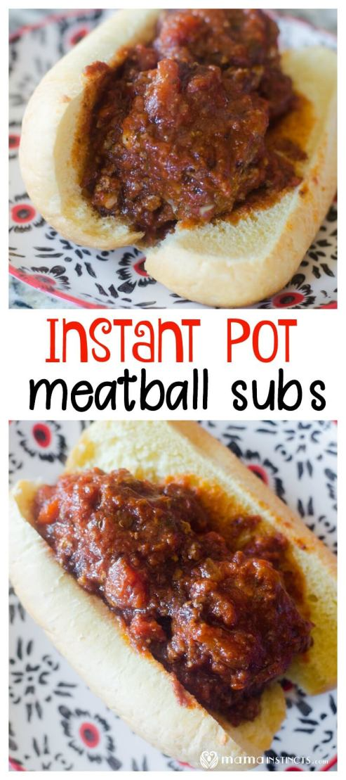 Make the tastiest and most perfect meatballs in your Instant Pot! This recipes is great for meatballs subs as well as spaghetti with meatballs. #mamaIP #instantpot #instantpotrecipes #easyrecipes