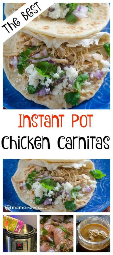 Try these delicious instant pot chicken carnitas made with organic ingredients. Just chop, cook and serve for a fun and healthy family meal.